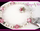 Pearl and crystal Big Sister Bracelet, Little Sister Bracelet, custom charm jewelry