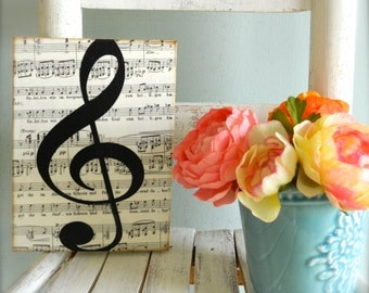 Music Teacher gift. Music Art. Treble Clef Sign Musical Home Decor Music Note