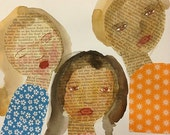 Three Friends an original one of a kind mixed media painting