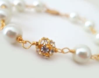 Wedding Bracelet Bridal Jewelry, Pearl and Rhinestone Gold Bridesmaid Bracelet, Crystal Pearl Bridal Bracelet, Gold Bracelet Pearl, STELLA