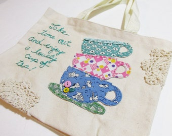 Hand Embroidered Tote Bag, Tote Bag, Applique Tote Bag, Teacups Tote Bag, Time for Tea Bag, Tea Bag, Bag, Tote by HollyCraft Originals