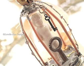 Finding the Key Frozen Charlotte Ornament Handmade Bird Cage Pendant  One-of-a-Kind Soldered Assemblage Pendant