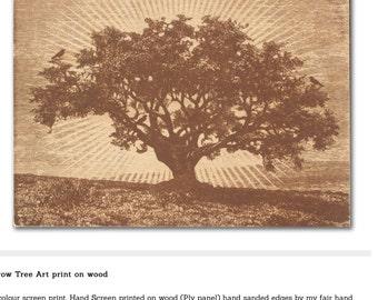 Crow Tree Art print on wood