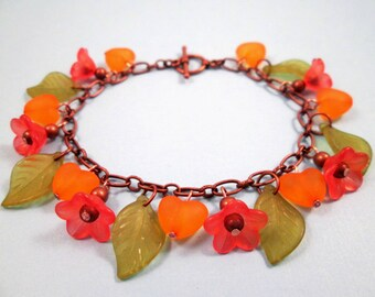 SALE - Flower Charm Bracelet, Apricot Blossoms, Colorful and Copper Beaded Bracelet, FREE Shipping U.S.