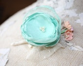 Mens boutonniere, mint wedding boutonniere, fabric flower boutineer, buttonhole, mint grooms flower