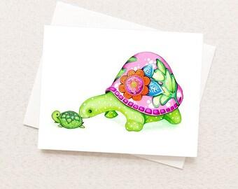 I Love Mom Greeting Card - Mom and Baby Turtle - Sweet Cute Animal Card