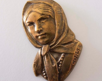 Superb Vintage French Corse Lady Ginger Brass Stamping Pendant, Centerpiece - 1