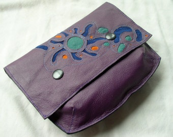 Large Pouch Wallet in Recycled Leather and Suede