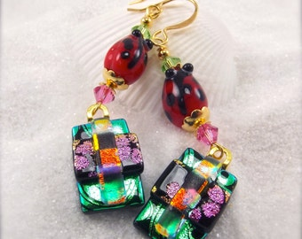 Ladybug jewelry, Dichroic Fused Glass Earrings, Artistic jewelry, fused dichroic earrings, Hana Sakura, Glass fusion, statement earrings