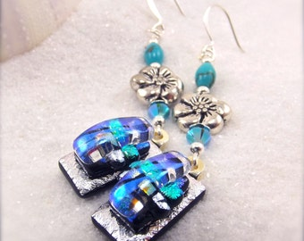 Fused dichroic earrings, Dichroic Earrings, dichroic jewelry, fused glass, turquoise earrings, hostess gift, glass gifts, ooak, glass fusion