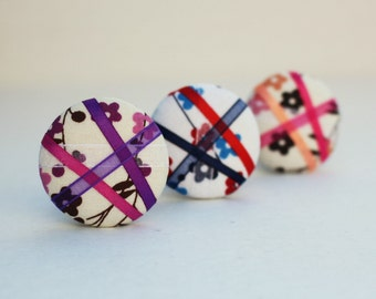 Secret Garden (3 Color Options) - One Oversized Hair Tie - Button Ponytail Holder - Hair Candy by Gazzu