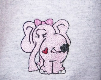 PARADISEDEAL Medium Hooded Sweatshirt Embroidered with Pink Elephant Heart Hoodie Adult Size Med. Ready to Ship