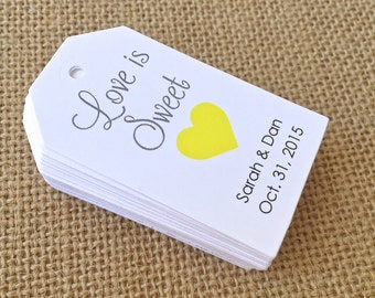 Personalized Love is Sweet Git Tags, Supplies, Gift Tags, Hang Tags, Bridal Favor, Bracket, Die Cut - Set of 25