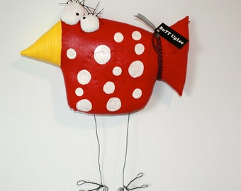 BuTT UgLee ... WhiMsiCaL WaLL ArT ... BiRd NaMeD RubY ... BrighT ReD with PolKa DoTs