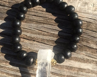 Quartz Crystal Bracelet with Wooden Black Beads