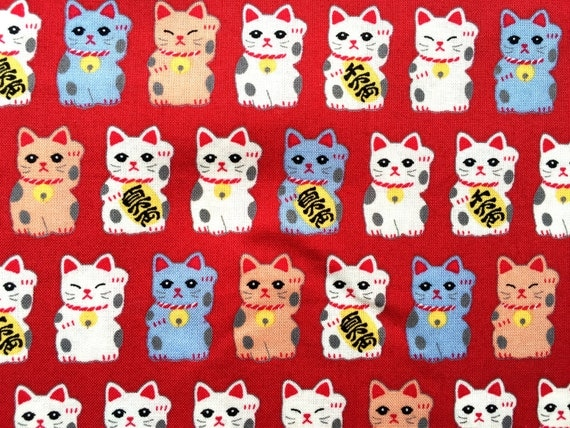 Japanese Fabric - Cotton Fabric - Red Fabric - Maneki Neko - Lucky Cats - Cat Fabric 110 cm x 75 cm F36-P17