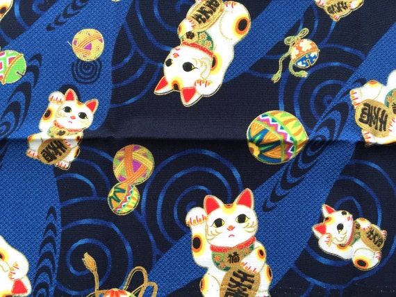 Japanese Fabric- Maneki Neko Fabric - Traditional Japanese - Blue Fabric - Lucky Cat Fabric  (F156) SMALL SIZE