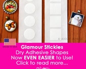 50 Pack Glass Pendant Adhesive Sticky Shapes. Easy to Use Strip. Alternative to Glaze for Pendant Trays. Dry Adhesive. Glamour Stickies.