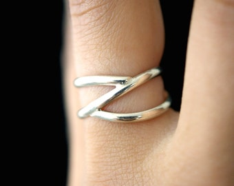 Silver Branch ring, Sterling Silver, branch ring, sterling silver Z ring, silver wrap ring, silver wraparound ring