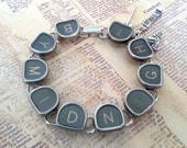 BY MIDNIGHT - Antique Typewriter Key Bracelet Cinderella Themed