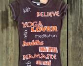 Eco friendly batik yoga t-shirt hand drawn hand painted & hand dyed women eco friendly vintage black