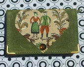 UPCYCLED Brand New Green SUEDE LEATHER Picture Business Card Wallet Case Holder Kawaii Kitsch Kitschy Heart Applique Lovers Couple