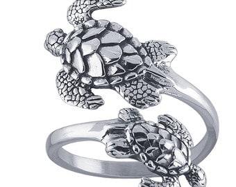 Handmade Sterling Silver Turtles Adjustable Spoon Ring