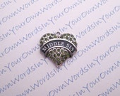 Custom Middle Sis Charm Crystal Antique Silver Heart Personalized Sister Pendant