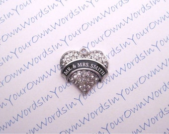 """Personalized Mr & Mrs """"Last Name of Couple"""" Pendant Crystal Custom Wedding Antique Silver Heart Charm"""