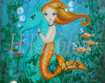 Mermaid Art- Children's Art- Mermaid and Seahorse Art- Mermaid Decor- Art Print Sizes 5x7 or 8x10 by HRushton