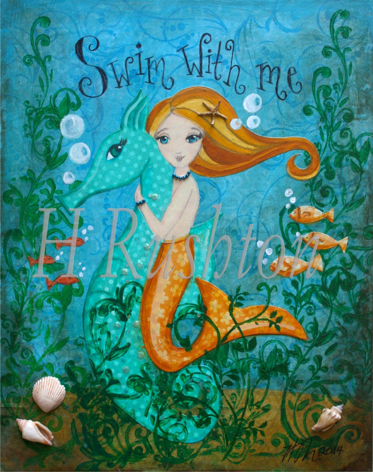 Mermaid Art Children's Art Mermaid and Seahorse Art