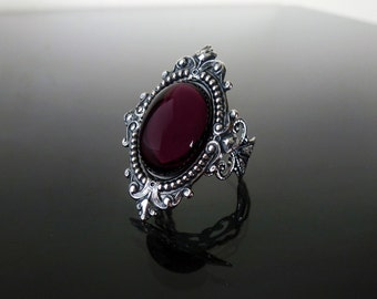 Victorian gothic ring - Amethyst purple ornate filigree steampunk ring - adjustable SINISTRA ring