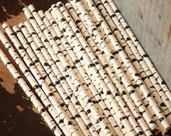 25 Zebra Print Paper Straws -- Black and White