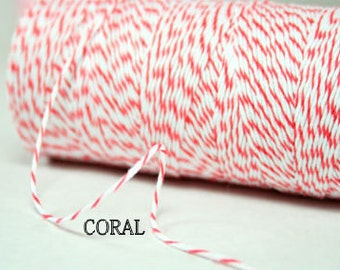 Coral Bakers Twine - Coral and white twine
