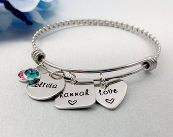 Personalized Bangle Bracelet - Adjustable Silver Bracelet - Pewter Name Charms with Birthstones - Mommy Bracelet - Stainless Steel Bracelet