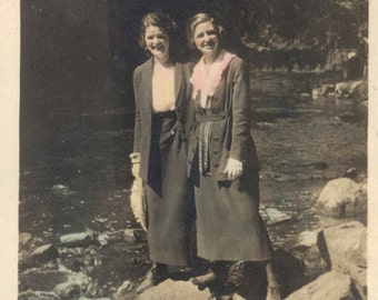 vintage photo 1920 Women Stand on Rocks in River Hand Colored