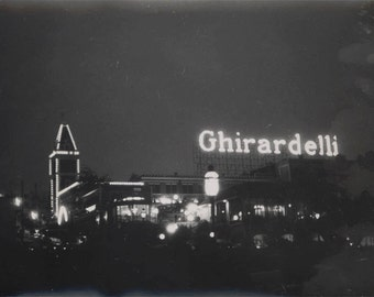 vintage photo 1966 San Francisco Ghirardelli Chocolate Co at Night
