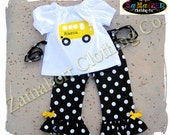 Custom Boutique Girl Back To School Bus Clothing Outfit Top Pant Set 24 MONTH SIZE 2 T 3 4 5 6 7 8 1st day of Kindergarten Preschool Grade