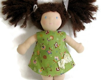For Waldorf 10 to 12 inch doll, green floral a-line dress