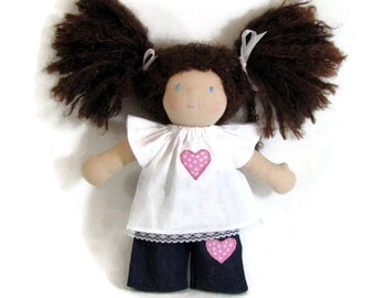 10 to 12 inch Waldorf doll outfit, pink heart doll shirt and pants, doll shirt and jeans