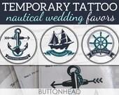 Nautical Wedding Favors - 12 Temporary Tattoos - Anchor Ship and Helm Designs