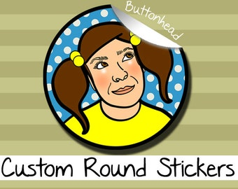 25 Personalized Round Stickers Labels - 1.5, 2, or 2.5 Inch