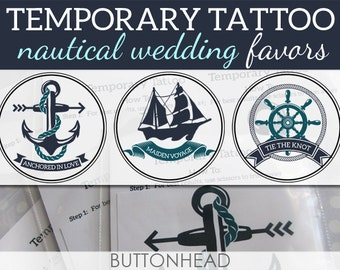 Nautical Wedding Favors Nautical Anchor Ship Wedding Designs - 12 Temporary Tattoos