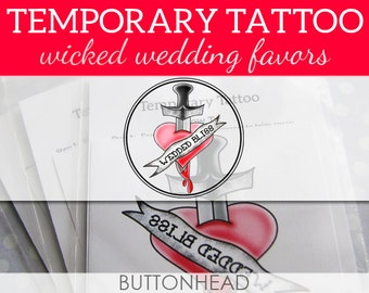 Rock N Roll Wedding Favors - Psychobilly Punk Alternative Heavy Metal Wedding Favors - Set of 12 Temporary Tattoos