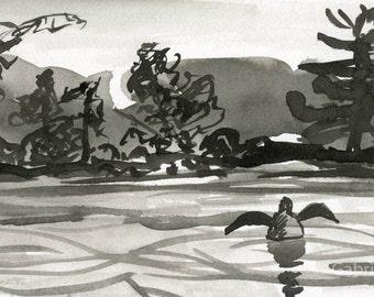 Original indian ink drawing  New Hampshire Lake // original painting  wall art  indian ink  ooak