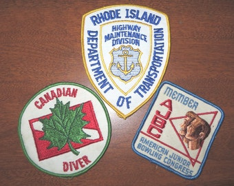 Lot of 3 vintage embroidered  patches  Rhode Island Canada Diver American Bowling