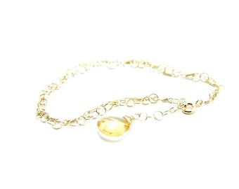 Citrine and Gold Filled Bracelet || Citrine bracelet || Gold Filled bracelet || Delicate bracelet