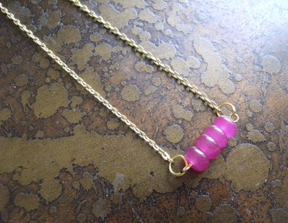 Pink Fantasy Candy Jade Gold Plated Chain necklace