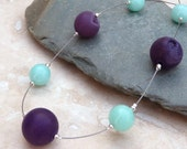 Purple Agate, Aqua Blue Jade and Silver Floating Necklace - N0005
