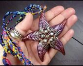 Beadworx - Clay and Gemstone Starfish Pendant - Star of the Sea